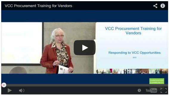 Procurement training videos on VCC YouTube channel.
