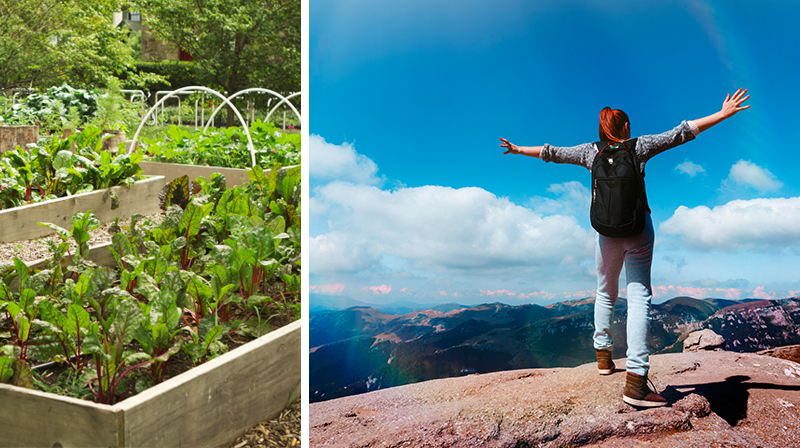 Two-sided image of urban garden and woman hiking a mountaintop