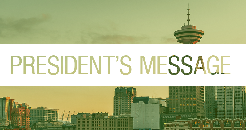 "Vancouver skyline with ""president's message"" text overlaid"