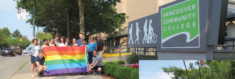 VCC employees with the rainbow flag at the Broadway campus
