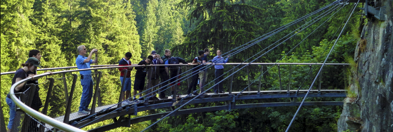 VCC drafting students on a Cliffwalk attraction at Capilano Suspension Bridge